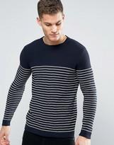 Minimum Koby Stripe Knit Sweater in Navy