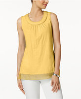Charter Club Cotton Crochet-Trim Top, Created for Macy's