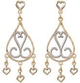 Candela 10K Two-Tone Gold Diamond Cut Dangle Earrings