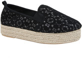 Yours Clothing Black Crochet Flatform Espadrille In E Fit