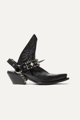 R 13 Studded Leather Slingback Ankle Boots - Black