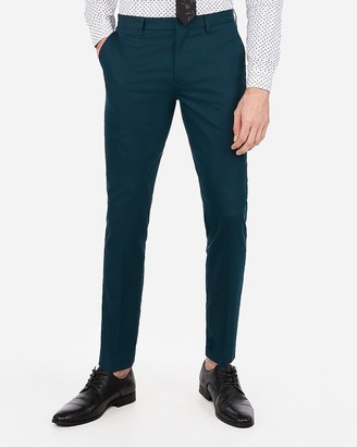 Express Extra Slim Teal Stretch Cotton Blend Suit Pant
