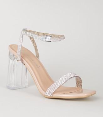 New Look Patent Diamante Clear Block Heels