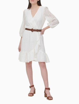 Calvin Klein Lace V-Neck 3/4 Sleeve Belted Ruffle Dress