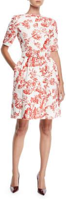 Oscar de la Renta High-Neck Short-Sleeve Belted Toile Fit-and-Flare Daytime Dress