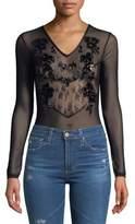 Miss Selfridge Embroidered Mesh Sequin Bodysuit