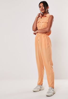Missguided Orange Sleeveless Utility Jumpsuit
