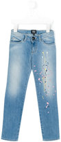Armani Junior embroidered detail jeans - kids - Cotton/Polyester/Spandex/Elastane - 4 yrs