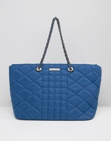 Silvian Heach Quilted Nylon East West Tote Bag With Chain Straps