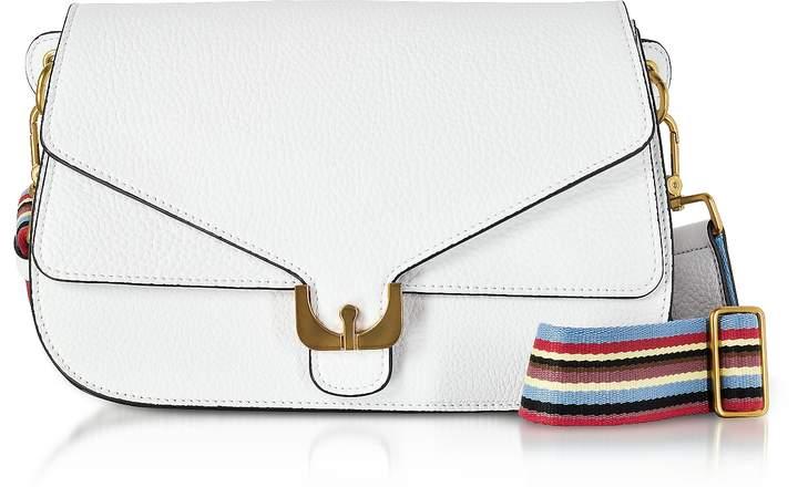 Coccinelle White Pebbled Leather Ambrine Rainbow Shoulder Bag
