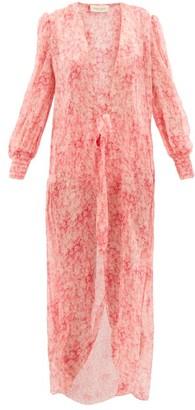 Adriana Degreas Hydrangea-print Tie-front Silk-muslin Cover Up - Pink Print