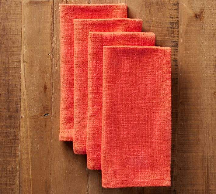 Pottery Barn Cotton Casual Napkin - Bright Orange