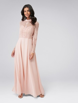 Forever New Violet Beaded Long Sleeve Maxi Dress - Blush - 4