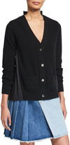 Sacai Solid Wool Front Pleated Poplin Cardigan