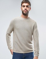 Farah Hastings Crew Jumper Texture Knit Slim Fit In Beige