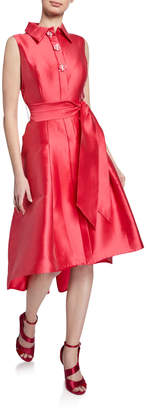 Rickie Freeman For Teri Jon Sleeveless Button-Front High-Low Shirtdress