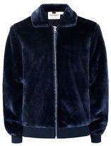 Topman Navy Faux Fur Harrington Jacket