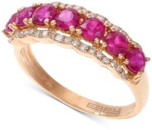 Effy EffyCertified Ruby (1-5/8 ct. t.w.) & Diamond (1/8 ct. t.w.) Statement Ring in 14k Rose Gold
