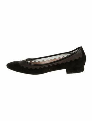 Chloé Suede Lace Pattern Ballet Flats Black