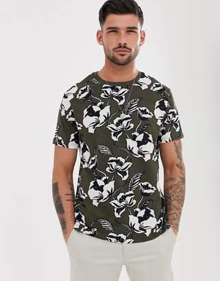 Burton Menswear t-shirt with floral print in khaki-Green