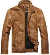 Minibee Men's Faux PU Leather Rider Jacket Blazer L