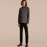 Burberry Slim Fit Pyjama Stripe Cotton Poplin Shirt , Size: 41, Blue