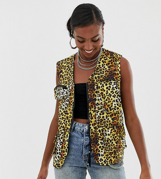 Collusion Tall leopard print sleeveless utility vest
