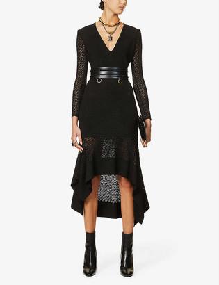Alexander McQueen Asymmetric knitted midi dress