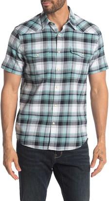 Lucky Brand Santa Fe Short Sleeve Stretch Button Down Shirt