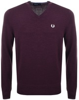 Fred Perry V Neck Knit Jumper Burgundy