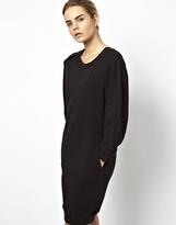 Chalayan Grey Line Gray Line Sweatshirt Dress - Black