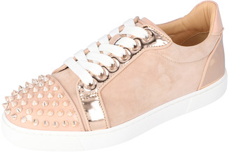 Christian Louboutin Pink Patent Leather and Suede Vieira Spikes Low-Top Sneakers Size 40.5