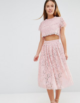 True Decadence Petite 2 In 1 Allover Lace Full Prom Skater Dress