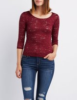 Charlotte Russe Floral Lace Scoop Neck Top