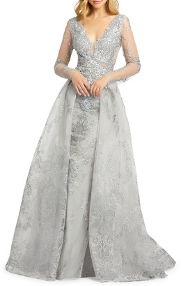 Mac Duggal Embroidered Long-Sleeve Illusion Column Gown w/ Overskirt