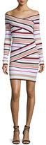 MSGM Off-the-Shoulder Striped Crossover Dress, Multicolor
