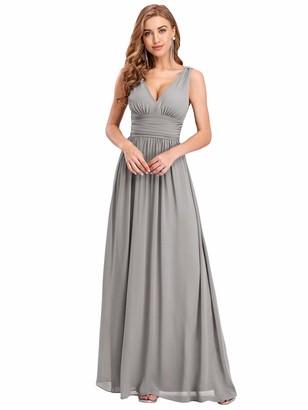 Ever Pretty Ever-Pretty Women's Elegant V Neck Floor Length Long Party Evening Dresses Dark Purple 14UK
