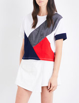 Izzue Contrast-panel boxy-fit cotton-jerey T-shirt