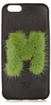 Fendi Leather Iphone 6 Case - Womens - Black Green