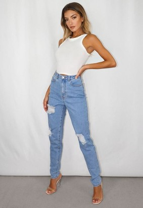 Missguided Blue Ripped Stretch Mom Jeans