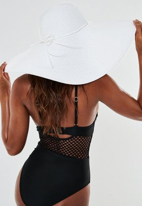 Missguided White Straw Band Floppy Beach Hat