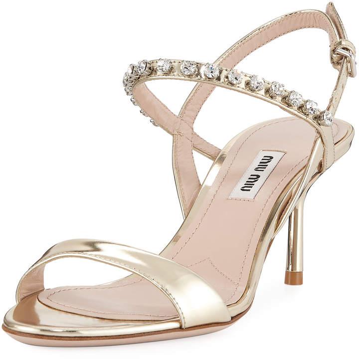 Miu Miu Metallic Shiny Jeweled Sandals