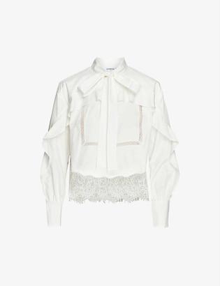 Self-Portrait Lace-trim cotton shirt