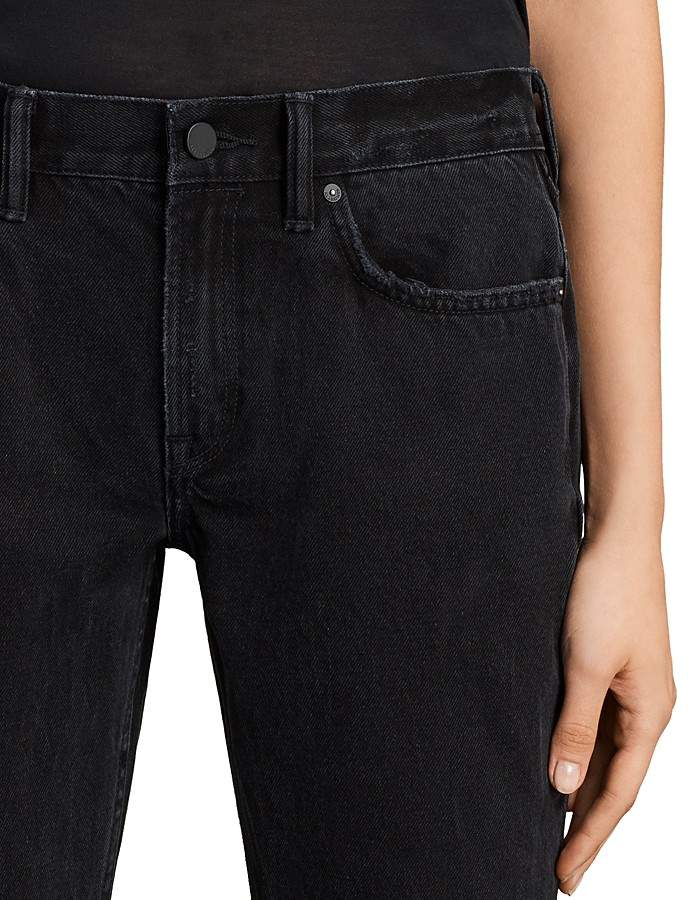 AllSaints Serene Cropped Kick Flare Jeans in Washed Black