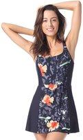 Delimira Women's Plus Size One Piece Swimdress Skirted Swimsuit Bathing Suits Multicoloured