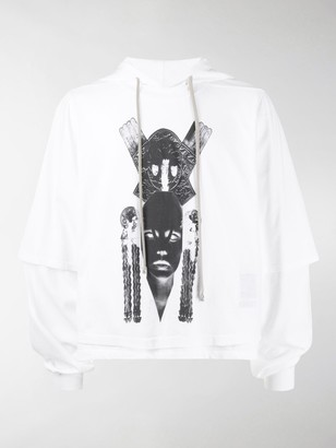 Rick Owens Graphic Print Double-Layered Hoodie