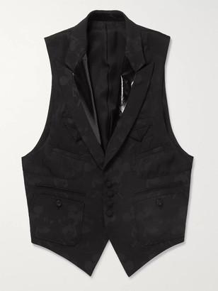 TAKAHIROMIYASHITA TheSoloist. + Mickey Mouse Patent Leather-Trimmed Wool-Blend Jacquard Waistcoat