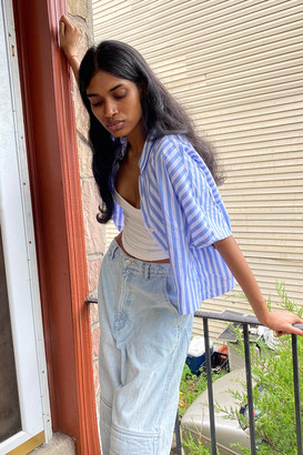 Urban Renewal Vintage Remnants Boxy Striped Button-Front Top