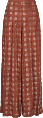 Leal Daccarett Abeja Checked Silk-Chiffon Wide-Leg Pants
