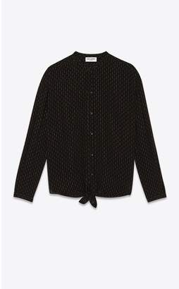 Saint Laurent Oversized Tie-Up Shirt In Silk Georgette With Studs